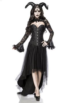 This sexy gothic queen costume includes horns, head necklace, bolero, corset and skirt. Demon Costume, Queen Costume, Costume Dress, Pirate Fashion, Gothic Fashion, Tulle Dress, Lace Dress, Gothic Korsett, Character Costumes