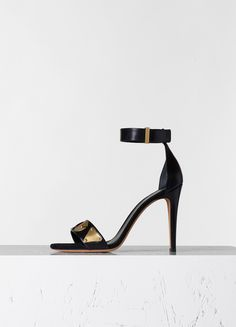 Iconic Sandal Embellished in Black Kidskin - Fall / Winter Collection 2015   CÉLINE