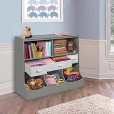 Ideal for storing your child's toys, the sturdy and durable Combo Bin Storage Unit with 3 Baskets by Badger Basket is perfectly sized for a nursery or bedroom. Features 2 open shelves, 3 separate cubby bins and 3 baskets to keep you organized. Cubby Storage, Kids Storage, Bedroom Storage, Storage Baskets, Storage Ideas, Playroom Storage, Playroom Seating, Record Storage, Storage Solutions