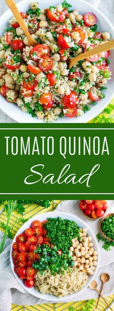 Tomato Quinoa Salad - R. Lim - Tomato Quinoa Salad It's time to add another tasty quinoa recipe to our meal prep game! This Tomato Quinoa Salad is fast, flavorful, and easily made in advance for speedy lunches and sides for work, school, or home! Healthy Salads, Healthy Eating, Healthy Quinoa Recipes, Dinner Healthy, Quinoa Dinner Recipes, Meal Prep Salads, Healthy Tasty Recipes, Quinoa Meals, Paleo Dinner