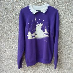 93ad4926bb2 White bunny in the snow sweatshirt with white collar. Vintage grandma  style. Cabin Creek