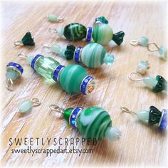 BLUE AND GREEN Beaded Charm Mix ... Glass by SweetlyScrappedArt