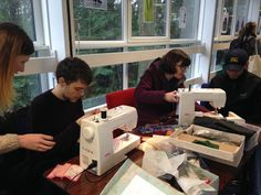 We teach students at Heriot-Watt University how to mend their clothes with simple sewing repairs.