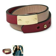 Fossil Double Wrap Leather Bracelet Brand new. Never used. Comes with tin can case. Fossil Jewelry Bracelets
