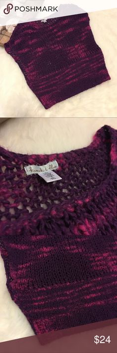 Kimchi Blue Purple & Pink Knit Sweater Blouse Top Super chic and stylish pink and purple kimchi blue knit blouse top in excellent preowned condition. Size medium Kimchi Blue Tops Blouses