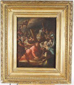 """Andréa CELESTI (Attribué à) """"Scène de la passion du Christ"""".  Huile sur toile. 45 x 36.5 cm (restaurations), cadre en bois et stuc doré de style Louis XVI"""