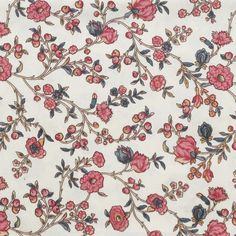 Vines of dark pink and blue buds and blossoms on a white background. Reproduction 18th- century fabric from the Colonial Williamsburg collections