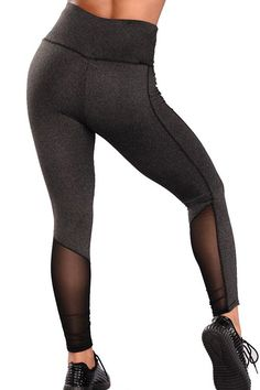 689a966ea87 Women Gray Mesh Caged High Waist Sports Yoga Leggings - S