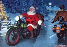 Harley Davidson Christmas Cards Free   Santa Biker - Motorcycle - Christmas Holiday Greeting Cards