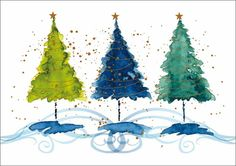 Three Trees - Trees. Available as a charity Christmas card from Admiral Charity Cards.
