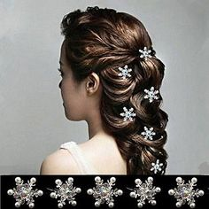 5PCS Lovely Wedding Bridal Crystal Rhinestone Pearl Snowflake Flower Hair Pin