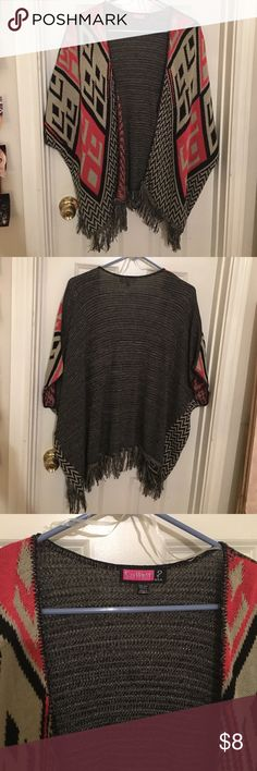 One-Size Oversized Cardigan Say What? Brand, never worn. Pink, black, and khaki color design. Like new. Say What? Sweaters Cardigans