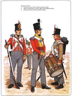 Fuciliere del 48 rgt. fanteria di linea inglese, ufficiale del 39 rgt fanteria leggera inglese e tamburo del 27 rgt. fanteria di linea inglese