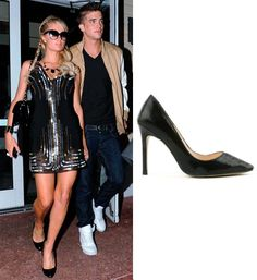 Paris Hilton Black High Heeled Shoes with Faux Snakeskin