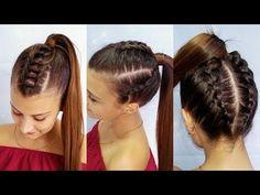 peinado para niña con ligas cruzadas y trenza pegada| peinado para niña fácil y rápido de hacer - YouTube