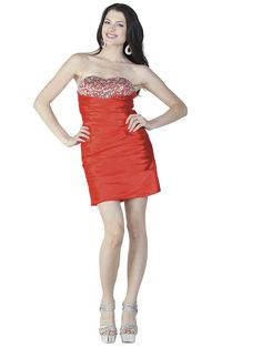 ad16556ff5a1 Strapless sweetheart beaded bodice with rhinestones and pleated Stretch  Satin short dress. POLY USA