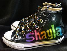 Glamour toes airbrush rainbow name converse!!! My daughter would love these!!