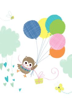 Melanie Mitchell - Mel Mitchell Owl And Balloons