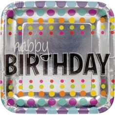 "Club Pack of 96 Metallic (Grey) Multi-Colored Birthday Pop Happy Birthday"" Square Foil Party Plates 7"""