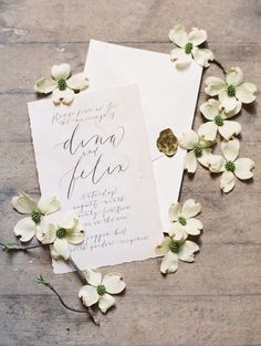 Dreamy wedding invitation on pale pink watercolor paper with graceful calligraphy and envelope with gold wax seal by Oh My Deer. Image by Laura Gordon Photography.