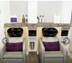 Salon ideano these colors but layout ideas for my home sa Salon Shampoo Area, Salon Sink, Hair Salon Chairs, Small Salon, Hair And Nail Salon, Cheap Chairs, Beauty Salon Design, Home Salon, Beauty Room
