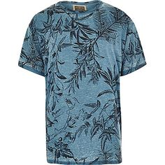 Blue Holloway Road botanical print t-shirt