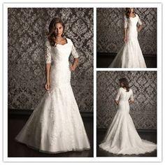 Online Shop 2013 New arrival floor length mermaid modest lace 3 4 sleeve wedding dress|Aliexpress Mobile