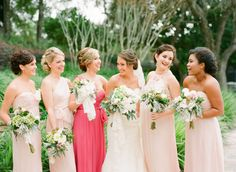 Shades of Pink Bridesmaids Dresses   photography by http://justindemutiisphotography.com/