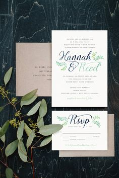 Navy & Mint Rustic Laurel Wreath Watercolor Invitations - Boho Forrest Wedding Invitations by BrossieBelle on Etsy