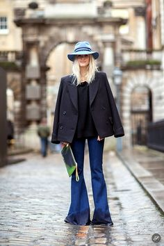 Maison Michel Hat, H&M Coat, By Malene Birger Pullover, Mih Jeans Flared Jeans, H&M Clutch