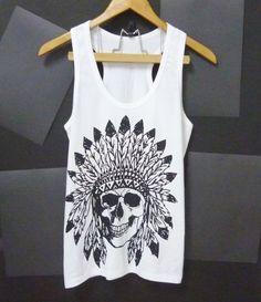 Native skull tank top size S/M/L/XL white shirt by CuteClassic