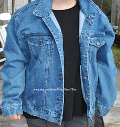 Denim jacket for repurposing and upcycling blue by Rocks2Gems2Wire, $25.00