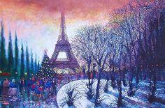 Christmas In Paris Painting by Vivian Crowhurst