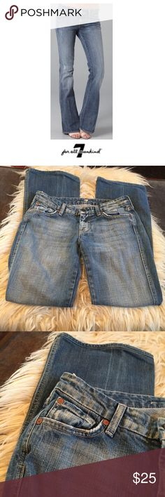 """7 For All Mankind Distressed A Pocket Flare Jeans 7 For All Mankind Distressed A Pocket Flare Jeans. Size 26 which is a 2. 30"""" inseam. 8"""" rise. Light wash. Designed distressed but have some wear too. Good condition. Feel free to make an offer or bundle & save! 7 For All Mankind Jeans Flare & Wide Leg"""