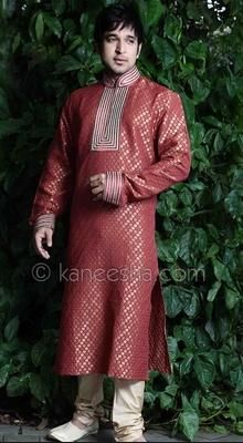 Maroon Brocade Kurta Set