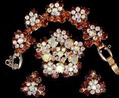 Book Set D E for Juliana Topaz AB Rhinestone Set Bracelet Earrings Pin Vintage   eBay