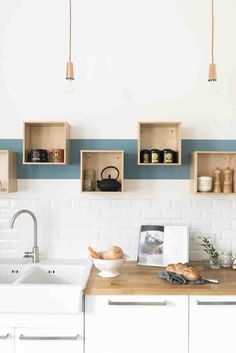 kitchen decoration Wooden-shelves-mugs-sink-and-white-cabinets-bread-book-lamps Source by michaelhof Small Open Kitchens, Cool Kitchens, Kitchen Furniture, Kitchen Decor, Kitchen Vinyl, Wooden Shelves, Home Decor Accessories, Home Renovation, Design