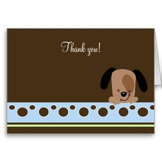 Mod Blue Puppy Folded Thank you note card