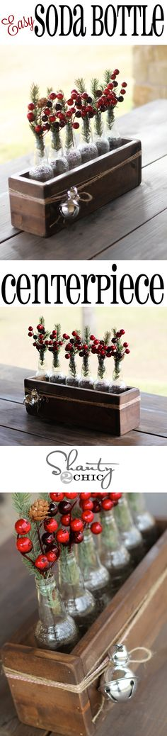 "DIY: Christmas Centrepiece using Soda Bottles and a wooden Crate . from ""Shanty 2 Chic"". 12 Days Of Christmas, Winter Christmas, Merry Christmas, Do It Yourself Furniture, Do It Yourself Home, Holiday Crafts, Holiday Fun, Holiday Decor, Christmas Centerpieces"