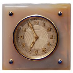 CARTIER Art Deco Agate Clock  France  circa 1930
