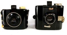 VTG Kodak Six20 Bull's Eye & Baby Brownie Bakelite art deco box cameras