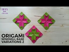 How to make origami windmill base variation 2 Gato Origami, Origami Yoda, Origami Ball, Origami Dragon, Origami Fish, 3d Origami, Origami Star Paper, Origami Quilt, Origami Boxes