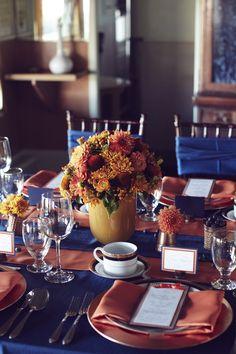 Orange and Navy. #yyceventrentals #weddingrentals #weddingdecor #eventdecor www.greateventsrentals.com