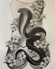 Doodle Tattoo, Tattoo Drawings, Body Art Tattoos, Cobra Art, Cobra Snake, Dibujos Tattoo, Desenho Tattoo, Mayan Tattoos, Viking Tattoos