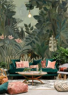 Oil Painting Jungle Forest Trees Wallpaper Wall Mural, Dark Green Jungle Forest Wall Mural, Hand Painted Oil Painting Jungle Forest Mural - Decoration Fireplace Garden art ideas Home accessories Decor, Wallpaper Living Room, Tree Wallpaper For Walls, Living Room Green, Forest Wall Mural, Wall Wallpaper, House Interior, Room Decor, Room Wallpaper