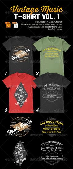 Vintage Music T-Shirt Template Vector EPS, AI. Download here: http://graphicriver.net/item/vintage-music-tshirt-vol-1/7918465?ref=ksioks