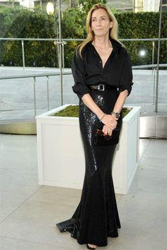 Tonne Goodman.  Plain black button-down shirt with sequin skirt.