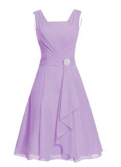 Dresstells® Women's Short Square Chiffon Bridesmaid Dress Party Dress with Sash Lavender Size14 at Amazon Women's Clothing store: