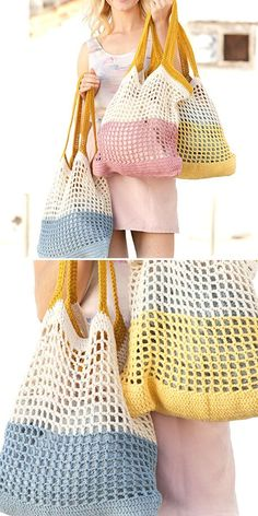 Amazing Crochet Summer Beach Bags.  This beautiful bag will be your best friend no matter if you're going to quickly grab some groceries, or go to the beach. It's spacious, colorful and really eye pleasing, so be sure you'll use it all the time.  #freecrochetpattern #bag #tote