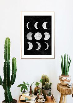moon phases boho room art painting print room decor Typographic Print girly wall decor framed quotes bedroom office tumblr room decor 8x10 makeup,room,interior,lol,funny,pretty,cute
